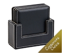 4 Piece Leather Look Square Coaster Sets