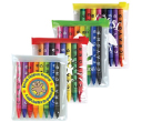 Assorted Colour Crayons In PVC Zipper Pouches