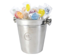 Assorted Colour Lollipops in Stainless Steel Ice Buckets