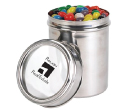 Assorted Colour Mini Jelly Beans in 12cm Stainless Steel Canister