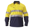 Bisley 2 Tone Closed Front Drill Long Sleeve Shirts with Tape