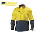 Bisley 2 Tone Hi Vis Drill Shirts Long Sleeve